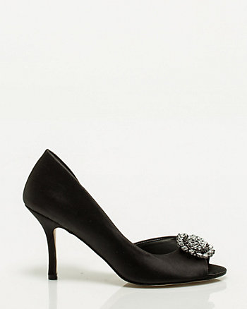 Satin Gem Cluster Peep Toe Pump
