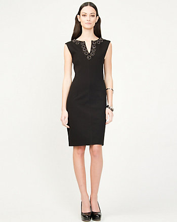 Embellished Ponte Knit Shift Dress