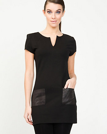 Knit Tunic With Leather-Like Trim