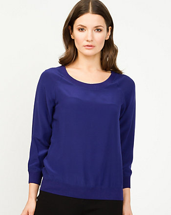 Silk Chiffon & Knit Top