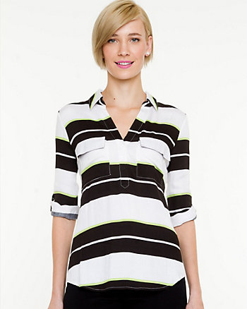 Stripe Challis V-neck Blouse