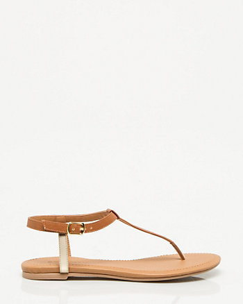 Leather-like T-Strap Flat Sandal