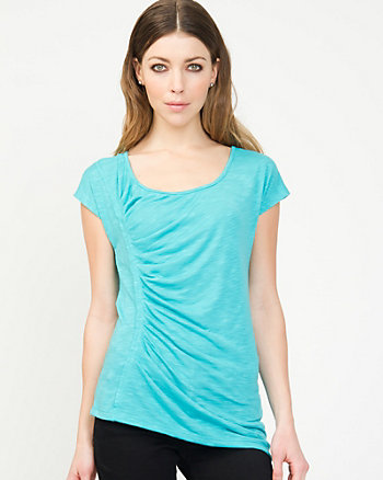 Viscose Blend Pleated Top