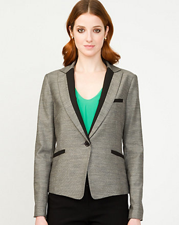 Linen Blend Notch Collar Blazer