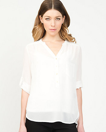 Chiffon High Low Hem Blouse