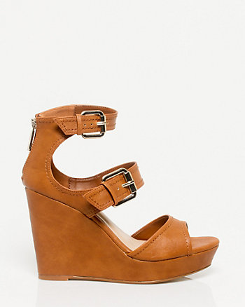 Leather-Like Peep Toe Wedge