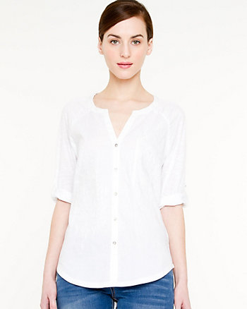 Cotton Blend Button-front Blouse