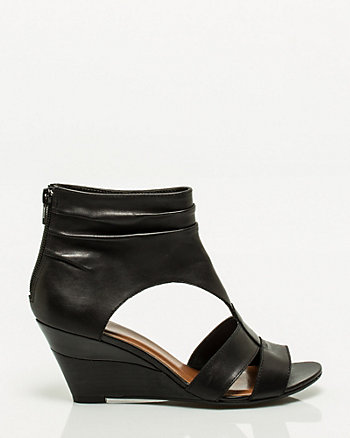 Peep Toe Leather Wedge
