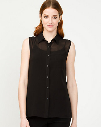 Chiffon Sleeveless Button-Front Blouse