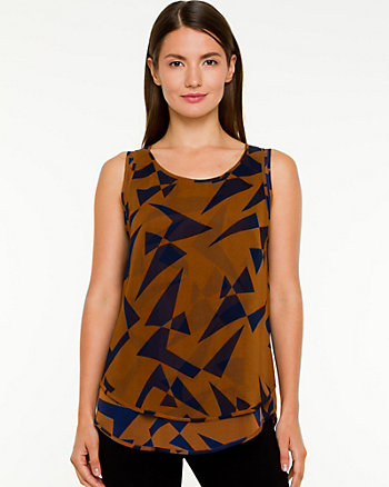 Geo Print Chiffon Sleeveless Blouse