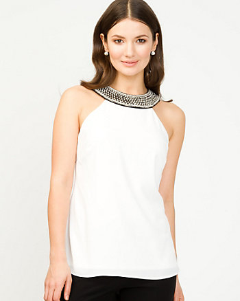Crêpe de Chine Beaded Top