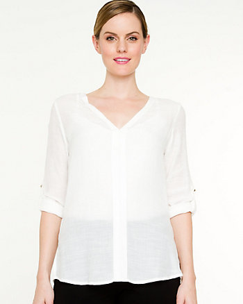 Gauze V-neck Stud Blouse