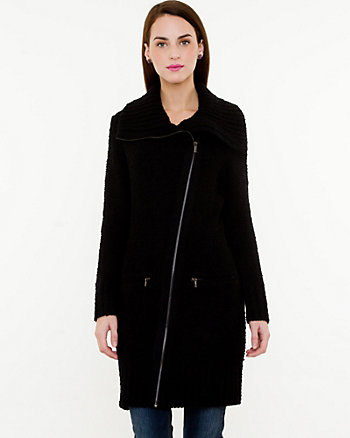 Bouclé Asymmetrical Sweater Coat