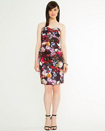 Floral Print Sweetheart Cocktail Dress