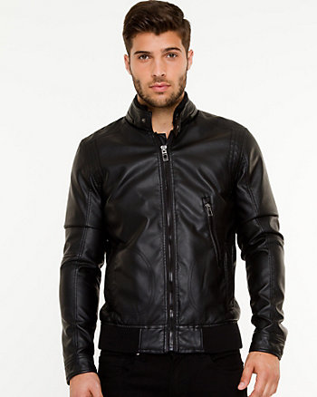 Leather-like Bomber Jacket