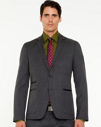 Tonal Pattern Wool Blend Blazer