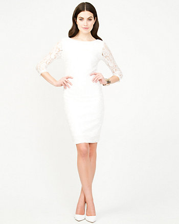 Lace And Knit Fitted Dress