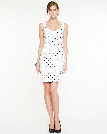 Polka Dot Fitted Shift Dress