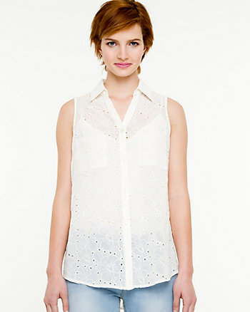 Embroidered Chiffon V-neck Blouse