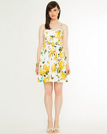 Stretch Poplin Floral Dress