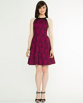 Lace Belted Halter Dress