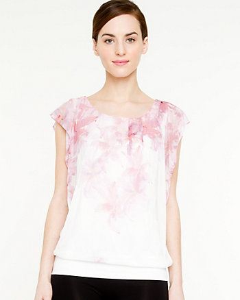 Scoop Neck Flutter Sleeve Top