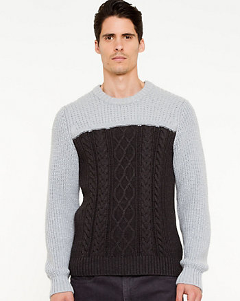 Cotton Blend Cable Knit Sweater