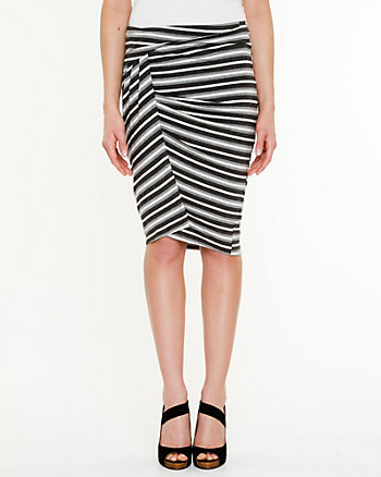 Stripe Jersey Draped Skirt
