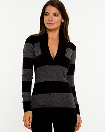 Angora Blend Shawl Collar Sweater