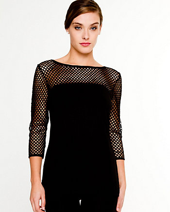 Mesh 3/4 Sleeve Top
