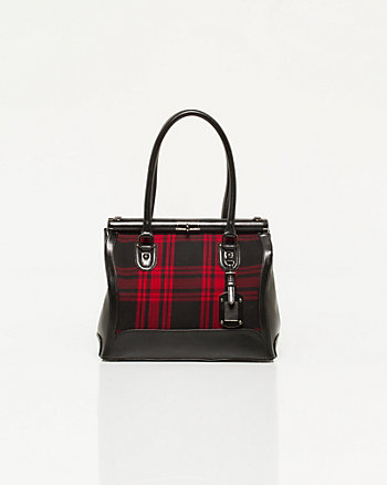 Leather-like & Plaid Satchel