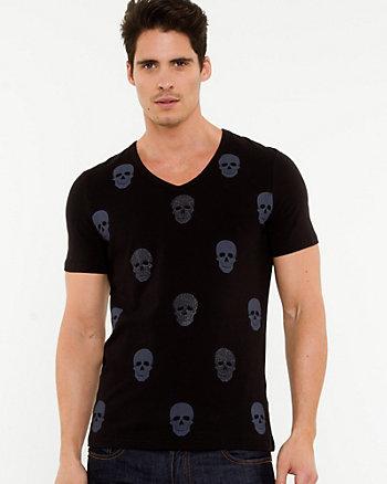 Skull Print Cotton Blend T-shirt