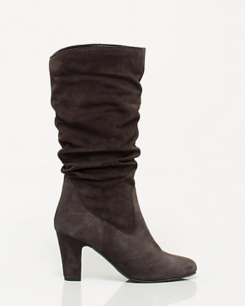 Italian Design Suede Ruched Mid Calf Boot