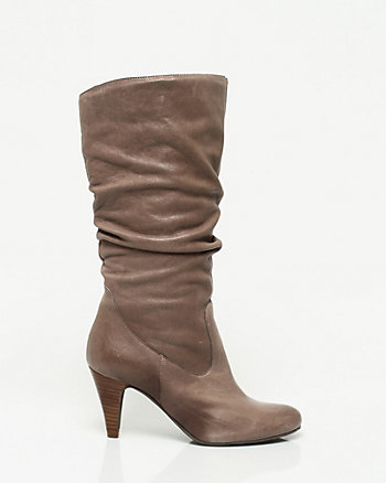 Leather Ruched Mid Calf Boot