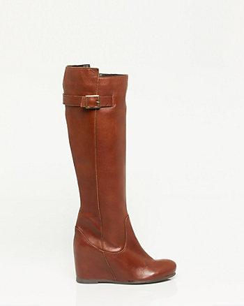 Italian Made Leather Knee-High Wedge Boot
