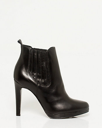 Leather Almond Toe Bootie