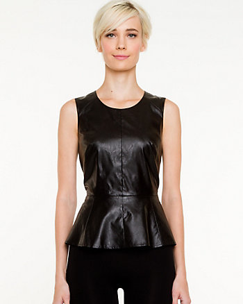 Leather-like Peplum Top