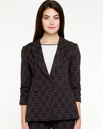 Jacquard Notch Collar Blazer