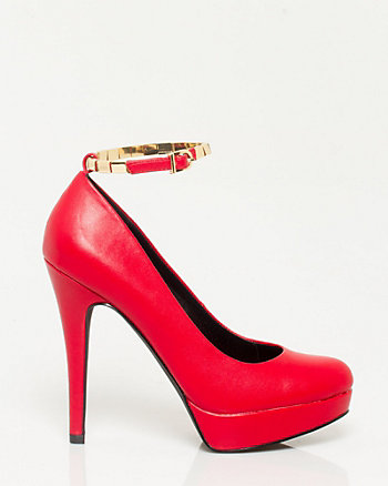 Leather-like Ankle Strap Platform Pump