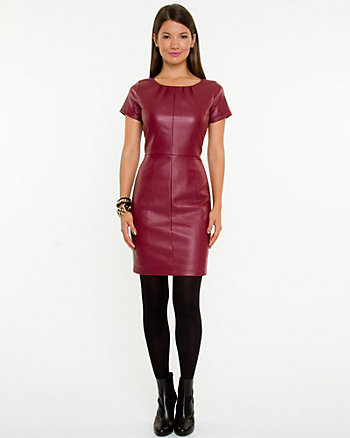 Leather-like Scoop Neck Dress