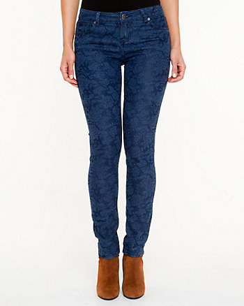 Jacquard Print Slim Leg Jeans