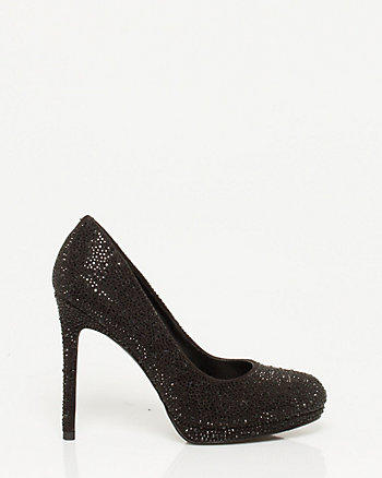 Jewel Encrusted Almond Toe Platform Pump