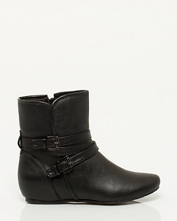 Leather-like Concealed Wedge Bootie
