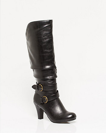 Leather-like Buckle Knee High Boot