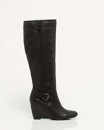 Leather-Like Knee-High Wedge Boot