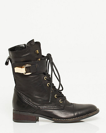 Leather Lace-up Mid Calf Boot