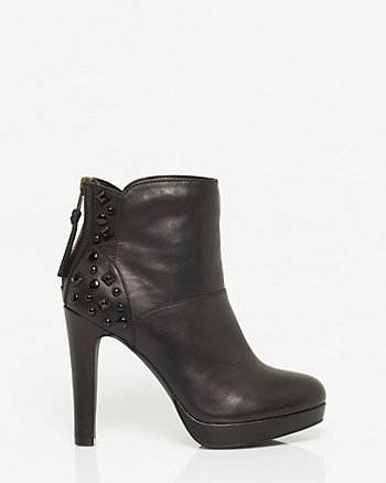 Leather Studded Platform Bootie