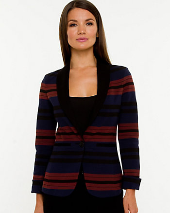 Ponte Knit Stripe Shawl Collar Blazer