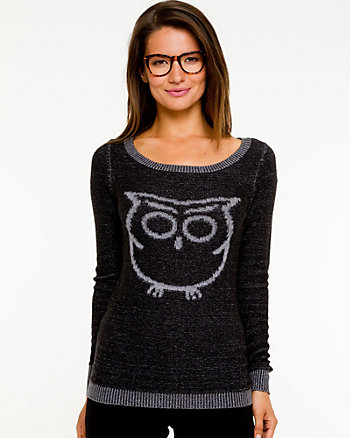 Owl Placement Print Sweater