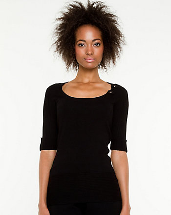 Scoop Neck Roll-up Sleeve Sweater